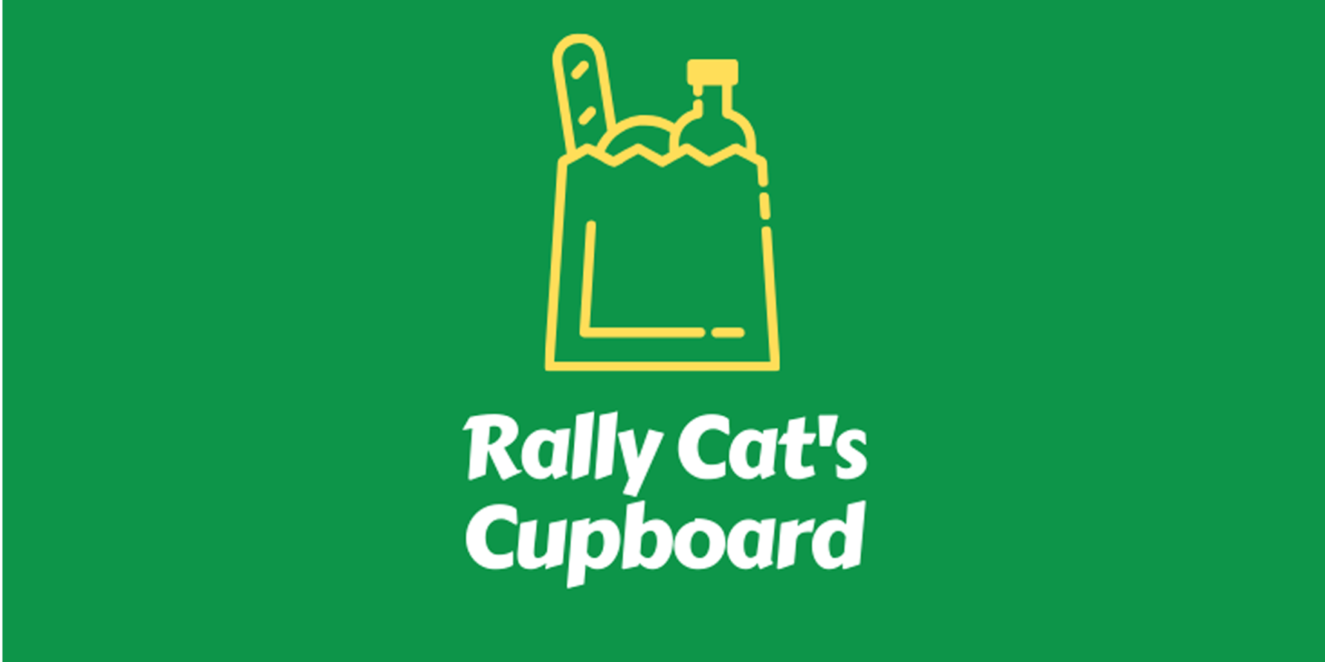 Rally's Cupboard Logo over Green Background