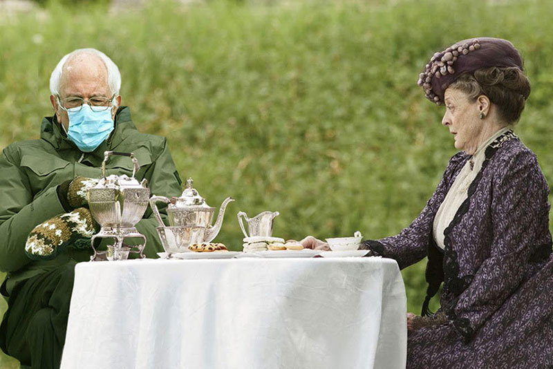 "Bernie Sanders sits with a character from ""Downton Abby,"" the Dowager Countess."