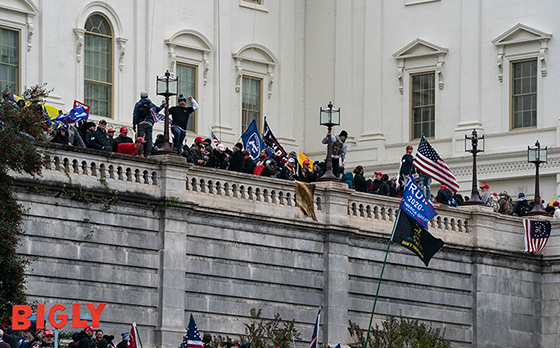 Protestors stand on top of the U.S. Capitol walls