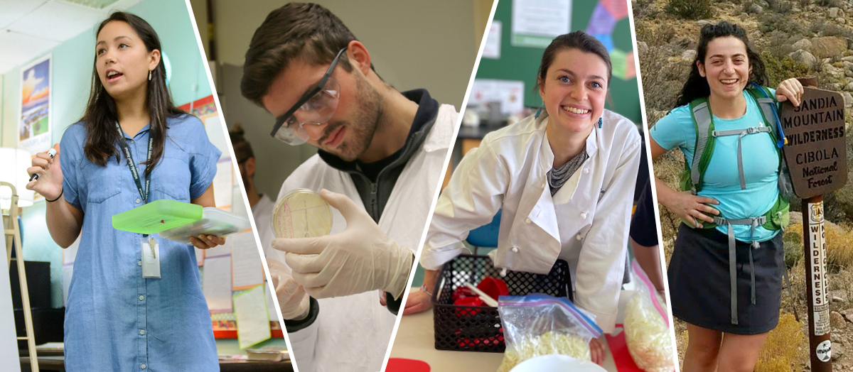 Collage of four UVM student Fulbright Award winners in classrooms and labs