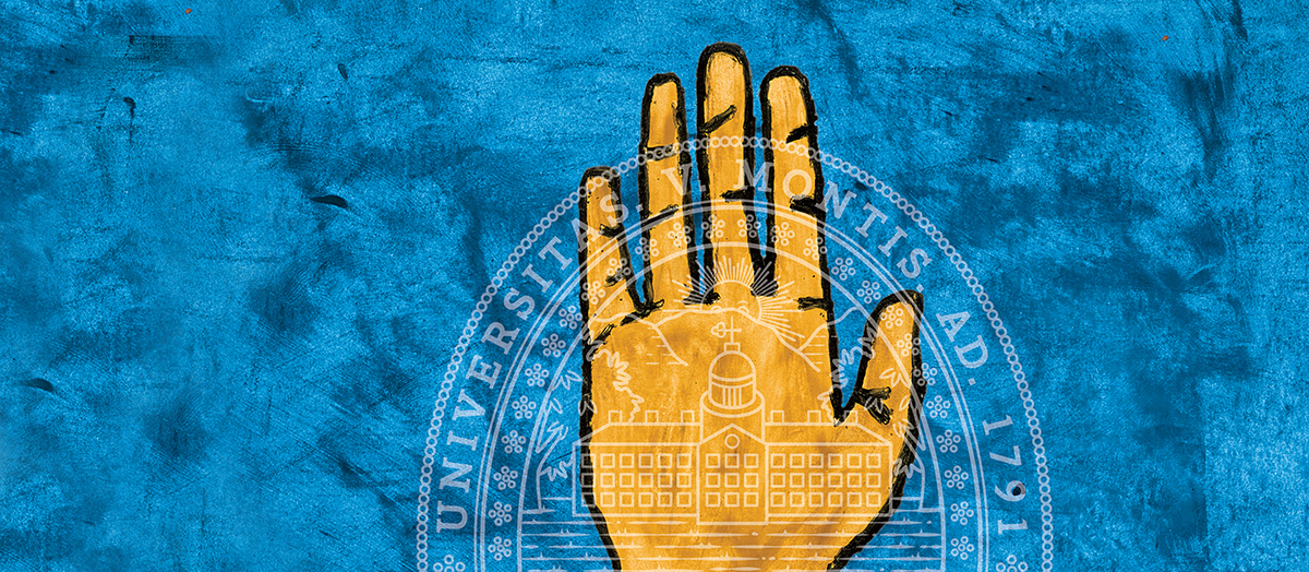 Yellow hand on blue background with University of Vermont seal