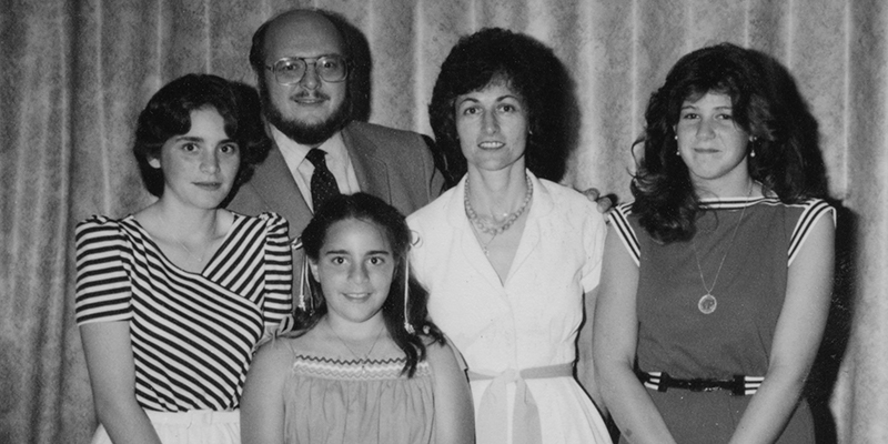 Black-and-white photo of The Ball Family, circa 1982