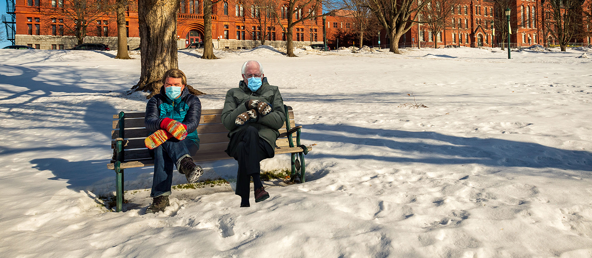 Jen Ellis and photoshopped image of Bernie Sanders sitting on bench on UVM campus