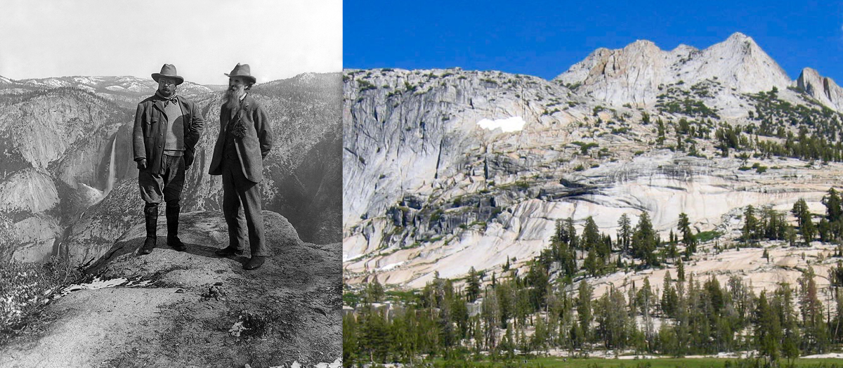 A collage of national park photos, historical and present day