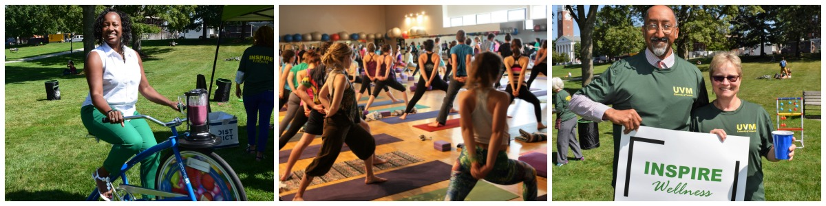 Employee Wellness pictures, person riding smoothie bike.  Others stretching in a large group.