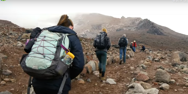 UVM students hiking in the Andes Mountains
