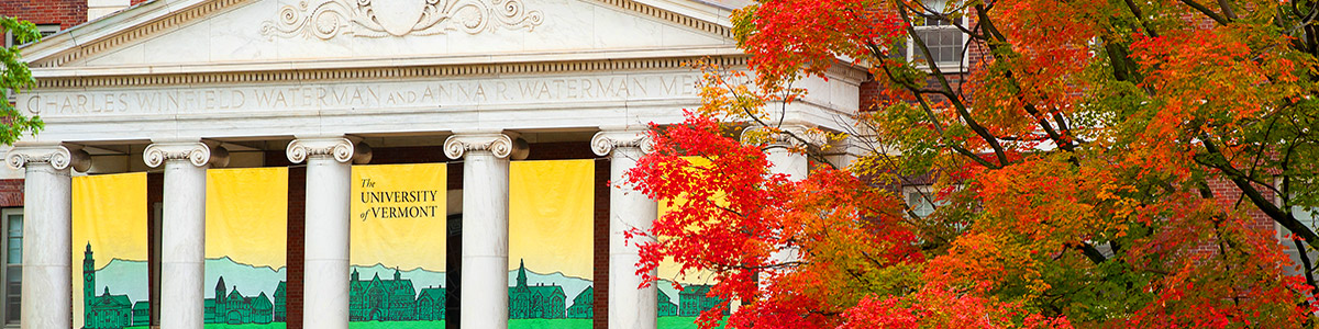 waterman building banners in fall