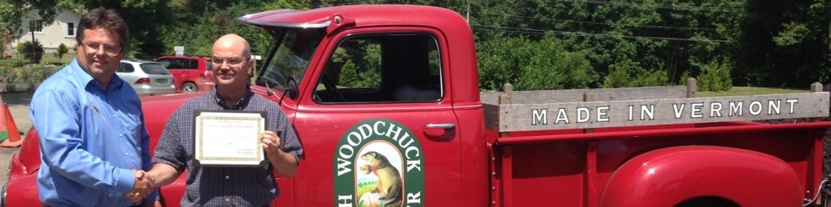 Prof. Conner with Community Partner Woodchuck Cider