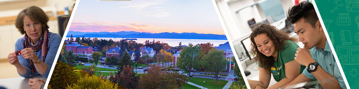 physical therapy faculty, aerial campus view with sunset over lake champlain, male student with woman faculty advisor