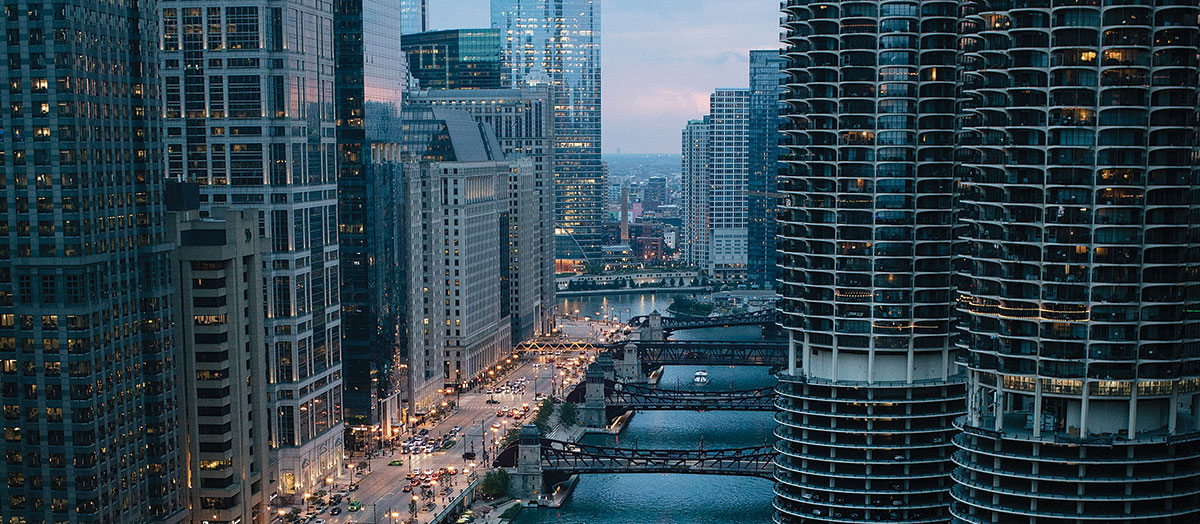 The Chicago River and surrounding skyscrapers at dusk
