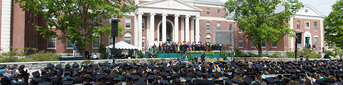 main commencement ceremony in front of waterman building