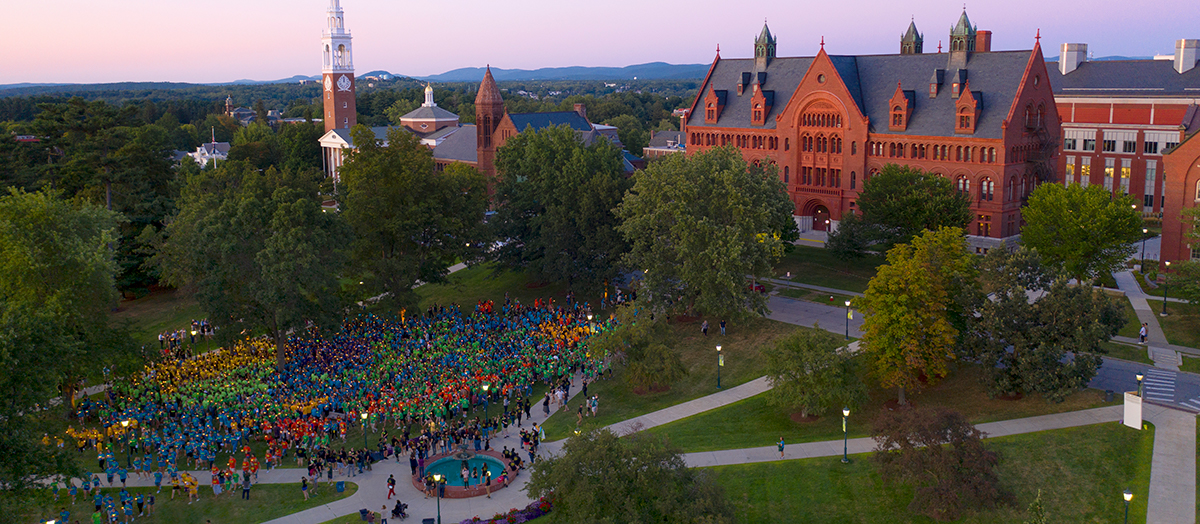 UVM green in summer at sunset