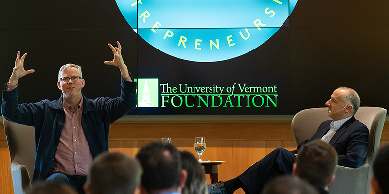 Brian Halligan '90, speaking with UVM Provost David Rosovsky on UVM's campus