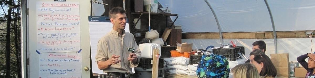 Hans Estrin of UVM Extension explains how wash water sanitizers work