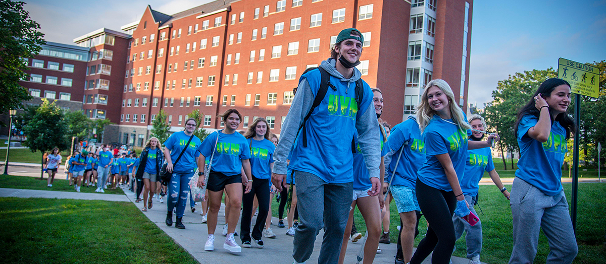 Students at the University of Vermont make their way across campus for Convocation