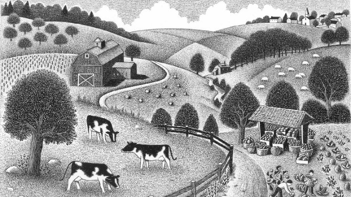 Woodcut of a farm with people gathering produce and cows grazing