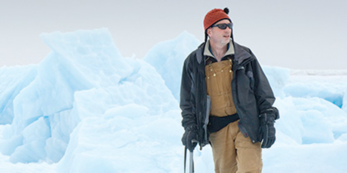Ian Joughin in front of ice sheet