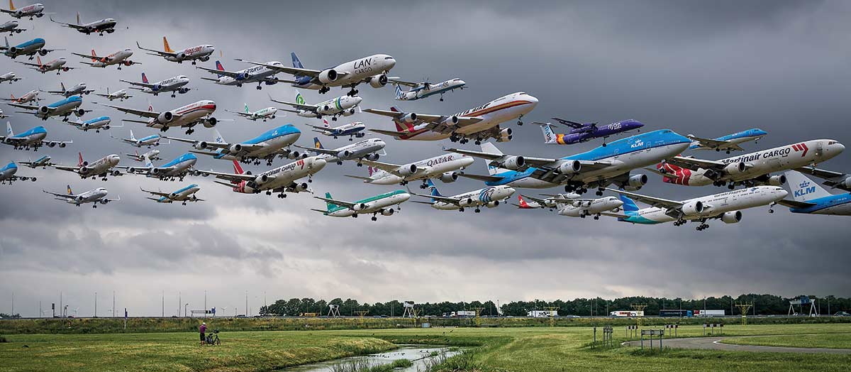 Mike Kelley '09 composite photograph of airplanes in flight