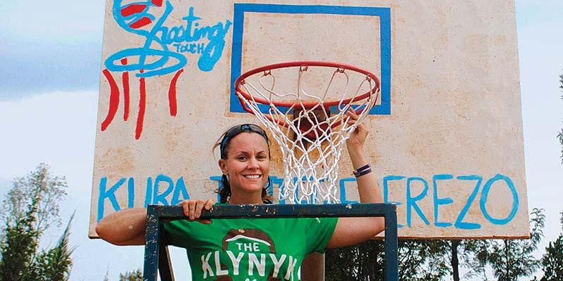 Kittredge and a basketball hoop
