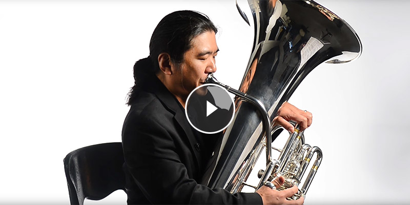 Professor Kono playing tuba