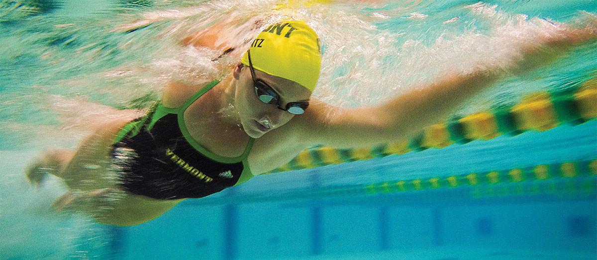 Student-athlete Sarah Mantz in the pool