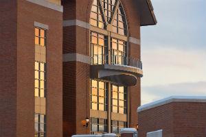 winter sunset reflections in davis center windows