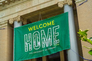 Welcome Home banner on Morrill Hall