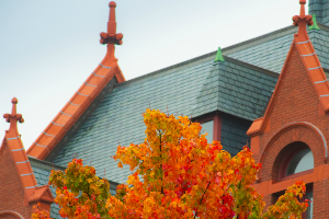 Spires of Williams Hall in the fall
