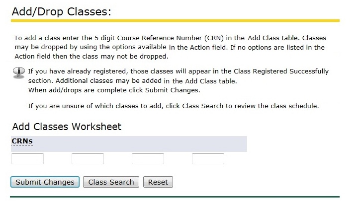 Add classes by inserting the CRN for the class in the worksheet CRN field.