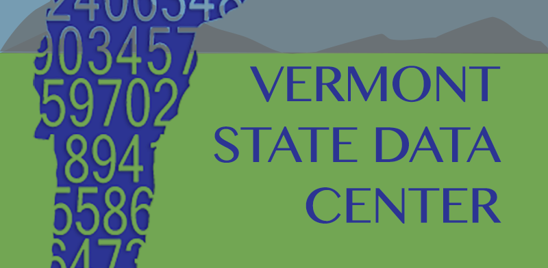 Vermont State Data Center logo outline of state and mountain landscape in background