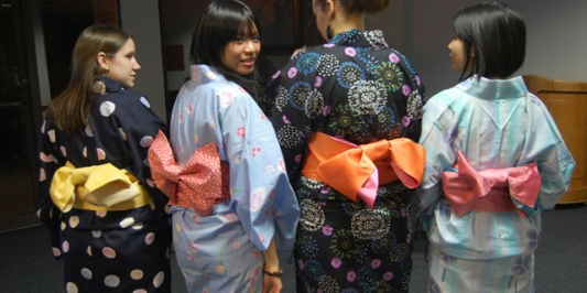 Japanese students in Kimonos