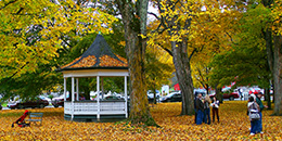 Town park with gazebo during fall foliage