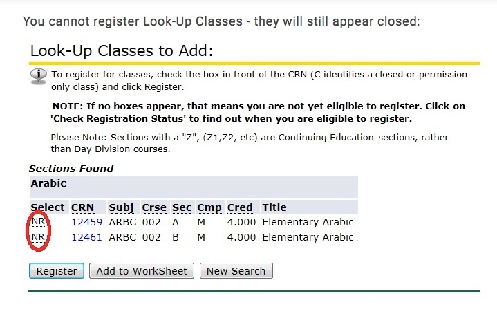 When you look-up classes after five days, no boxes will appear and you cannot register without an override.