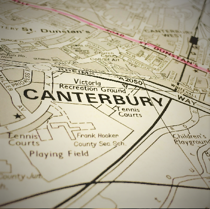 Map of historic Canterbury, England.
