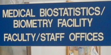 Sign on outside of Medical Biostatistics Unit's office