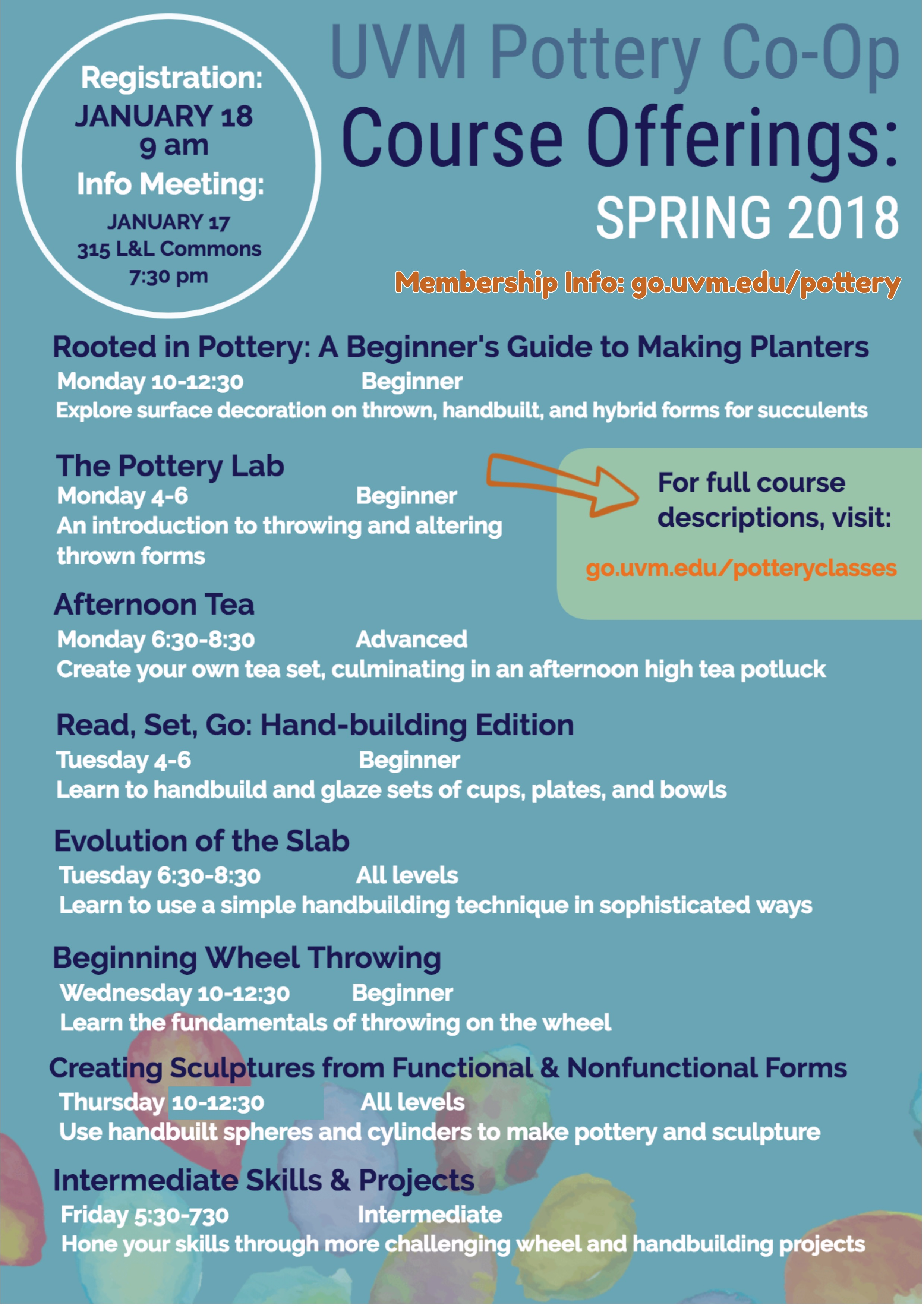 new poster of pottery co-op courses