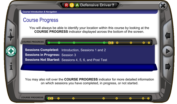 Screen view of training on course progress