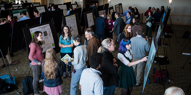 Image of the Grand Maple Ballroom in the Davis Center on UVM's campus holding poster presentations.