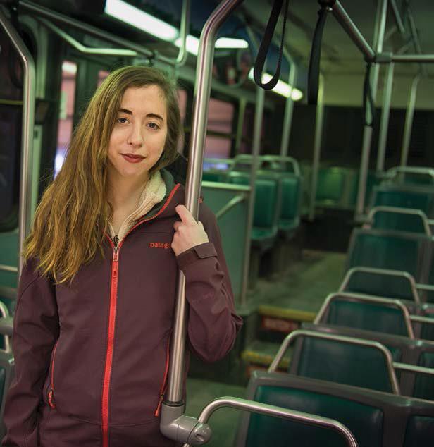 Sammi Ibrahim riding the bus