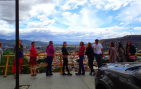 students in Oaxaca gathered at a lookout