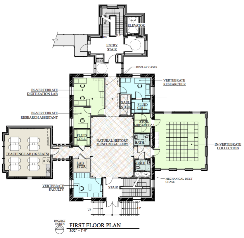floor plan showing a central exhibit hall surrounded by offices and storage, with teaching lab in west wing and collections in east wing