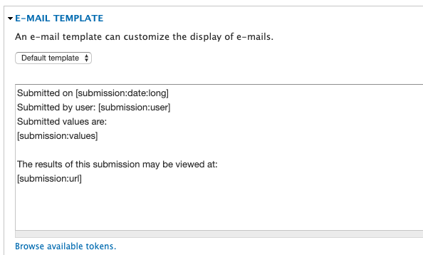 screen shot of email edit field