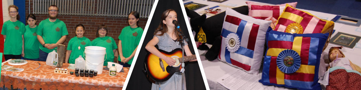 group of youth at tabletop exhibit; guitarist/singer; sewing projects on a table