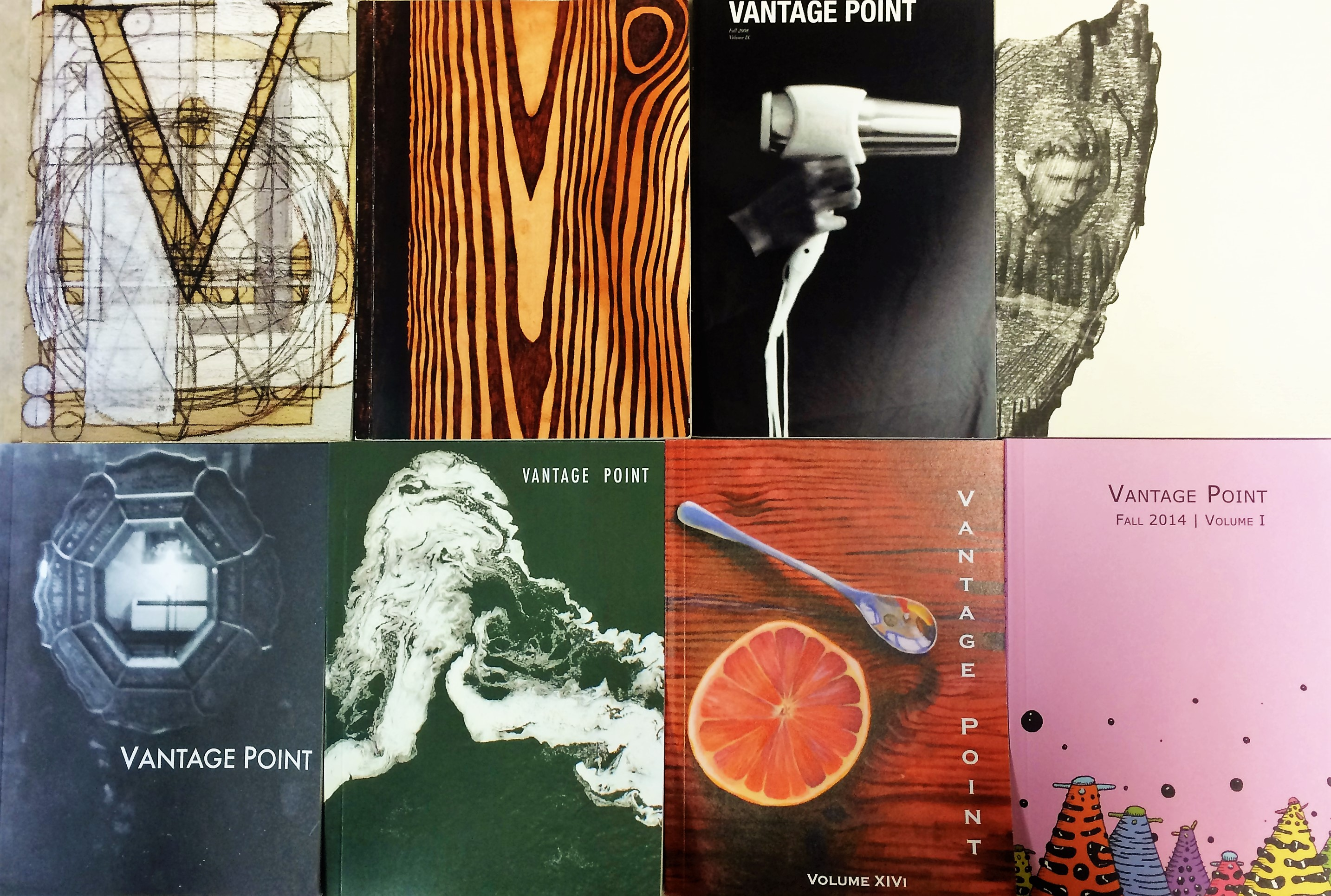 Collection of Vantage Point magazine covers from recent years.