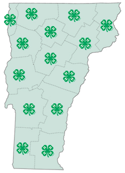 map of vermont with 4-H logo on each county