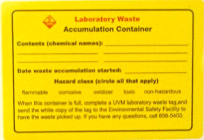 Laboratory Waste Accumulation Container label