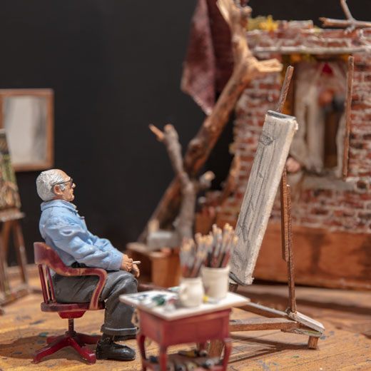 Photo of Ivan Albright's studio recreated in miniature by artist Joe Fig