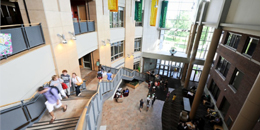 students climbing the stairs in the davis center atrium