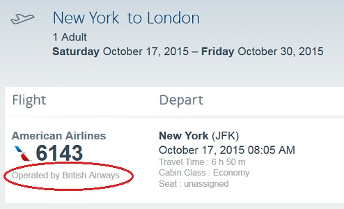 Example of a codeshare ticket with air carrier