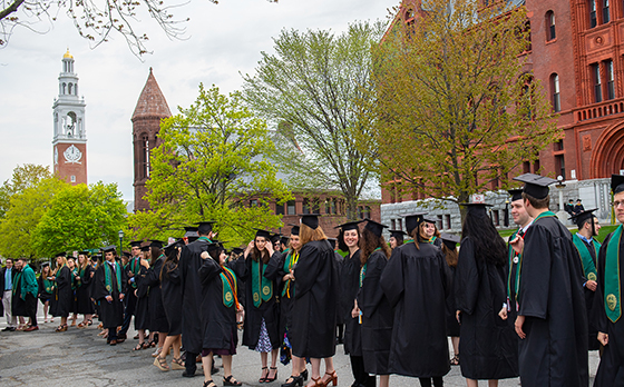 2019 graduates line up at the University of Vermont